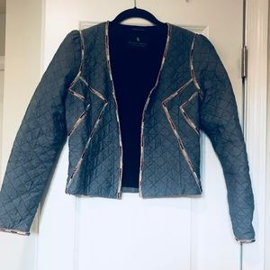 Hand beaded blue quilted blazer